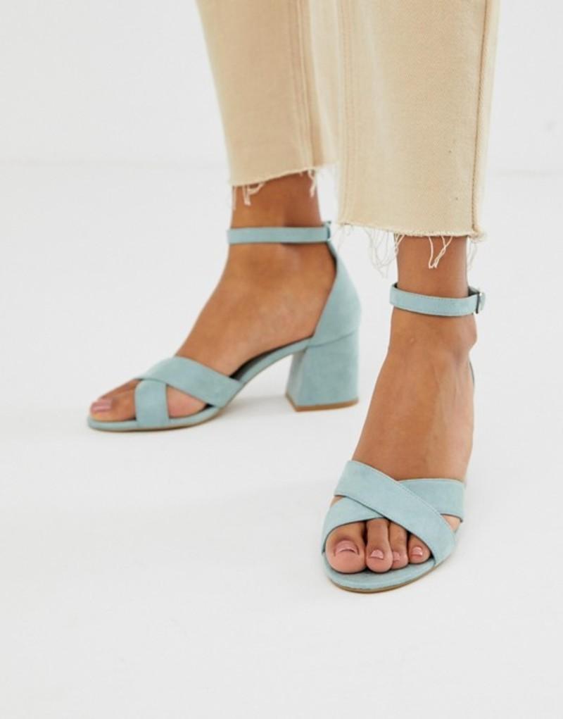 プルアンドベアー レディース サンダル シューズ Pull&Bear block heel sandal with cross front in pale blue Blue