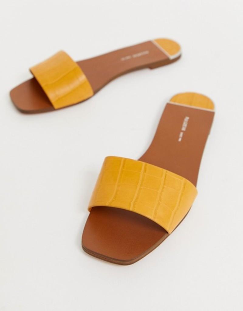 プルアンドベアー レディース サンダル シューズ Pull&Bear moc croc mule sandals in tan Brown