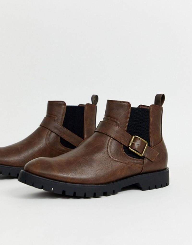 トリュフコレクション メンズ ブーツ・レインブーツ シューズ Truffle Collection side buckle chelsea boot in brown Brown