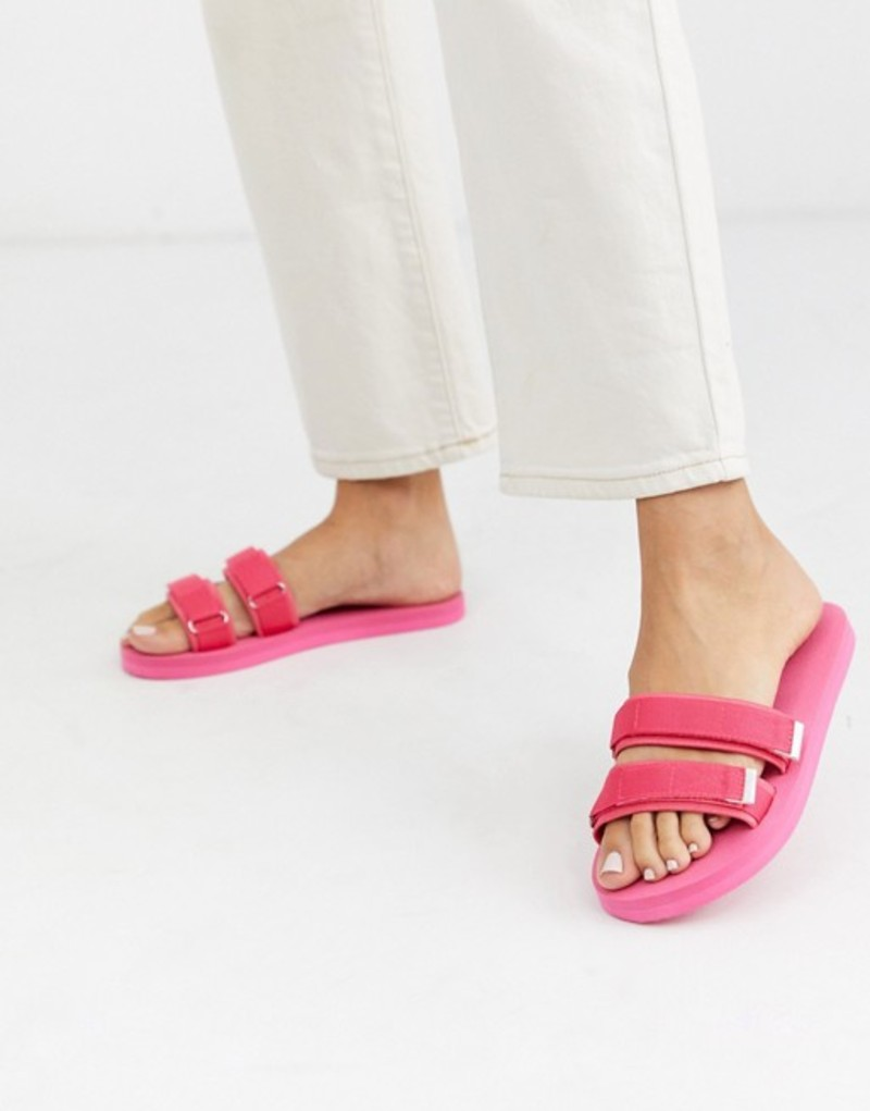 エイソス レディース サンダル シューズ ASOS DESIGN Finite sporty pool slider in pink Pink