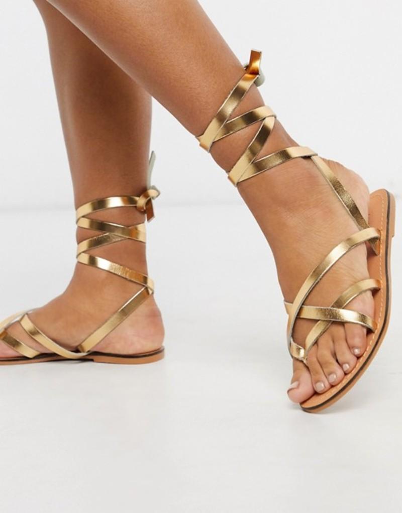 エイソス レディース サンダル シューズ ASOS DESIGN Framed strappy leather sandal in gold Gold