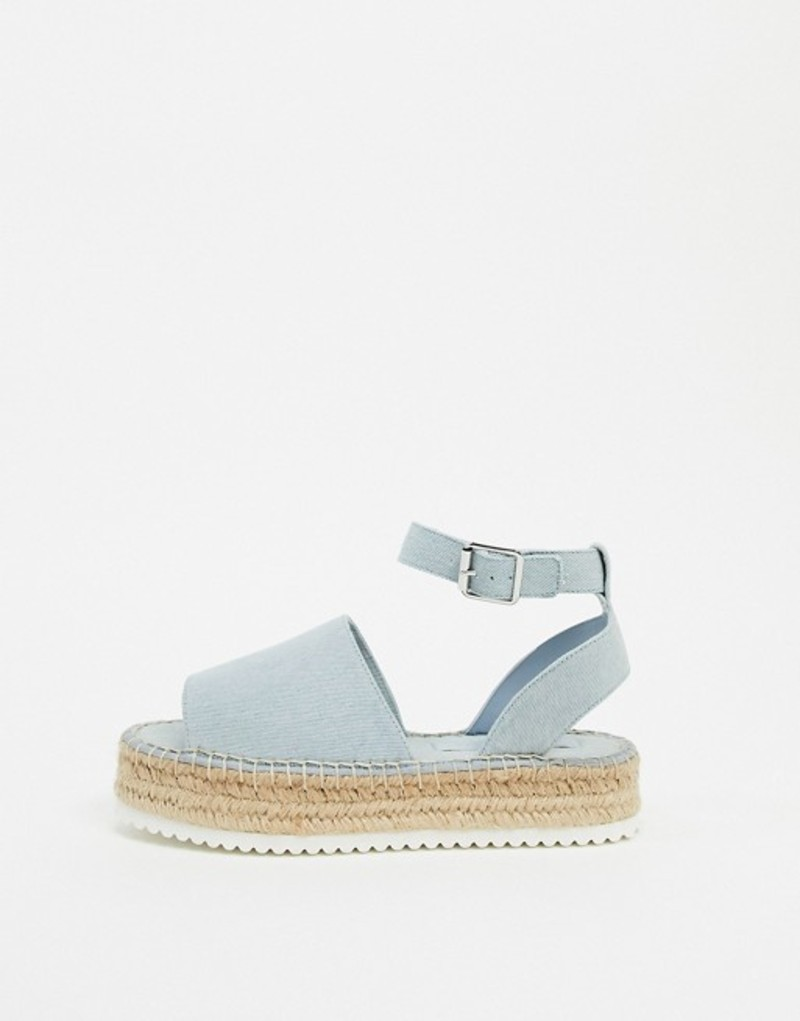 エイソス レディース サンダル シューズ ASOS DESIGN Jupiter flatform espadrille sandals in denim Denim