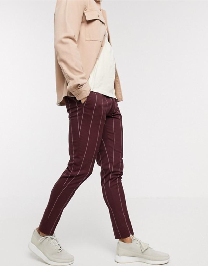 エイソス メンズ カジュアルパンツ ボトムス ASOS DESIGN super skinny smart pants in burgundy pinstripe Burgundy