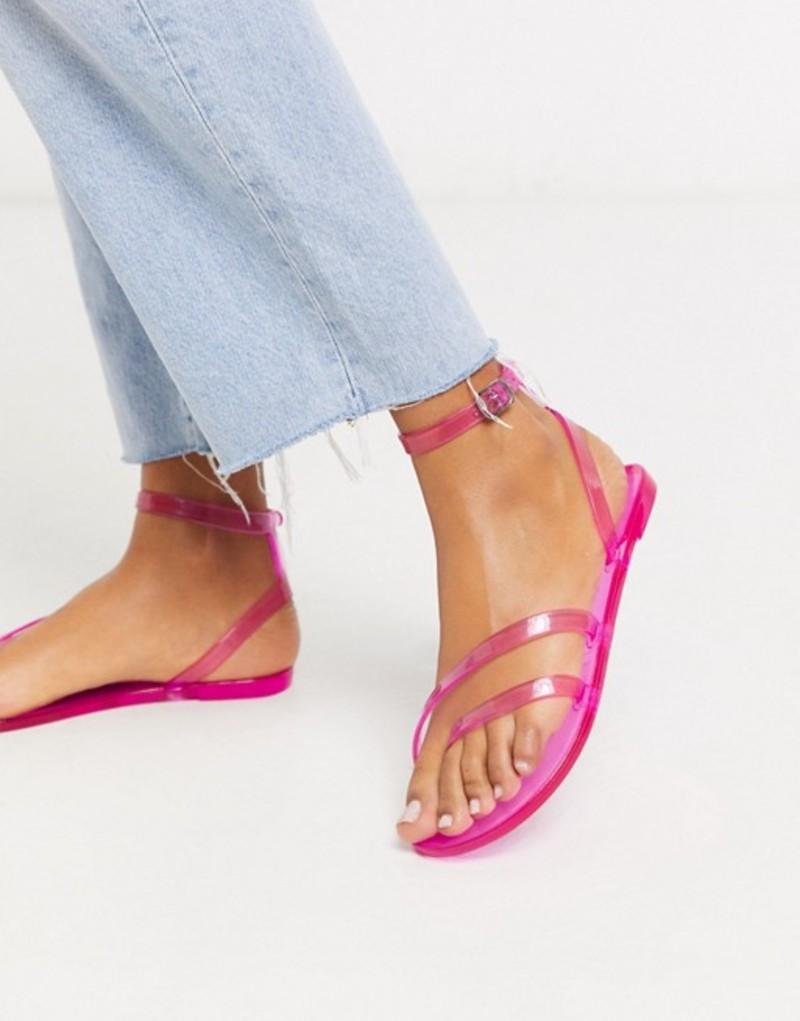 エイソス レディース サンダル シューズ ASOS DESIGN Fluke asymetric jelly flat sandals in neon pink Neon pink