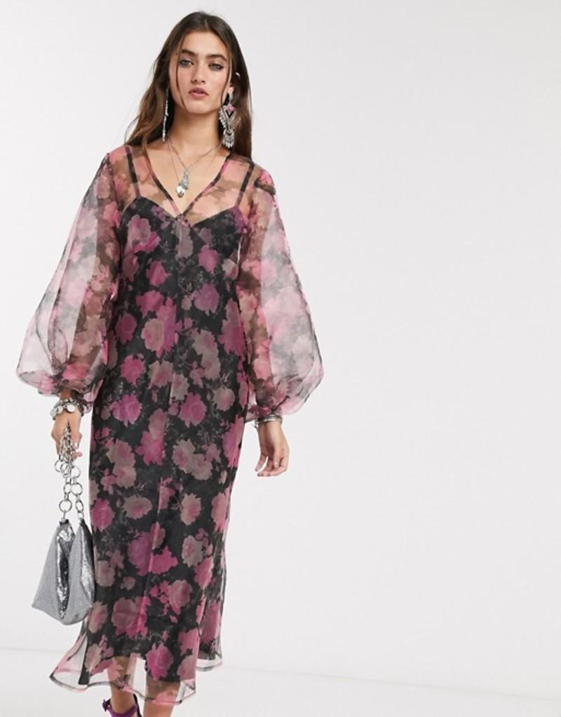 エイソス レディース ワンピース トップス ASOS DESIGN organza bias maxi dress with puff sleeves in rose floral print Pink floral print
