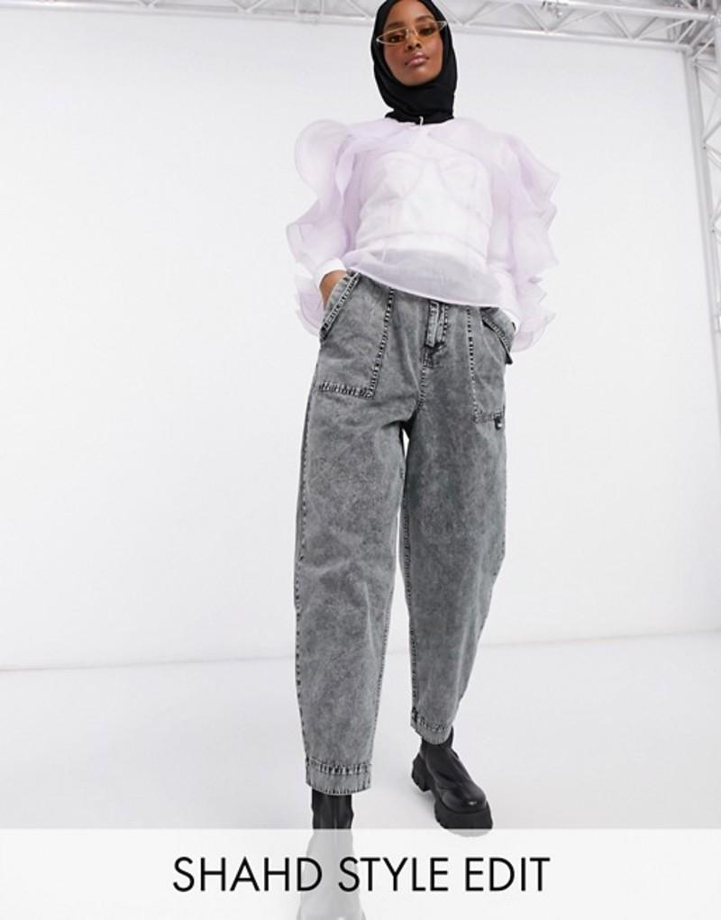 エイソス レディース デニムパンツ ボトムス ASOS DESIGN balloon leg worker pant with belt in charcoal acid wash Charcoal