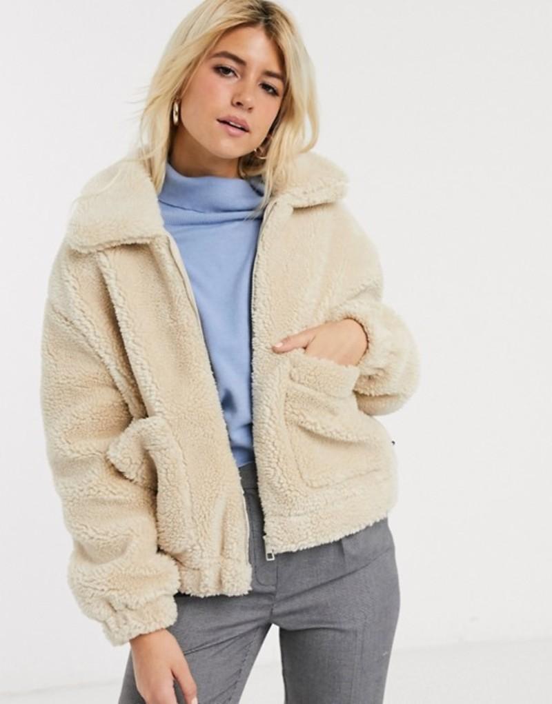 プルアンドベアー レディース ジャケット・ブルゾン アウター Pull&Bear zip front fleece jacket in off white Beige