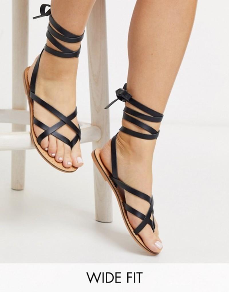 エイソス レディース サンダル シューズ ASOS DESIGN Wide Fit Framed strappy leather sandal in black Black
