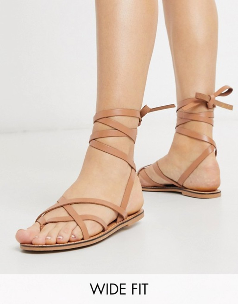 エイソス レディース サンダル シューズ ASOS DESIGN Wide Fit Framed strappy leather sandal in tan Tan