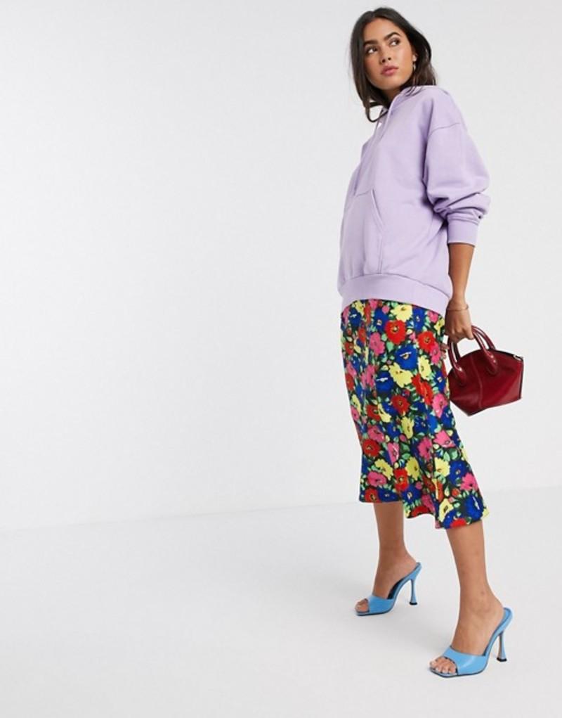 エイソス レディース スカート ボトムス ASOS DESIGN satin bias midi skirt in bright floral print Bright floral