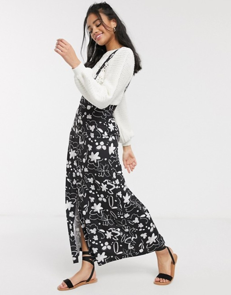 エイソス レディース スカート ボトムス ASOS DESIGN city maxi pinafore skirt in mono floral print Mono floral