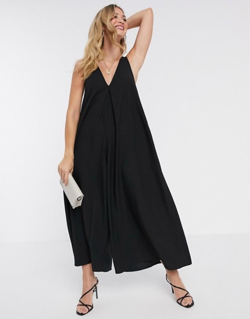 エイソス レディース ワンピース トップス ASOS DESIGN v neck minimal smock jumpsuit in black Black