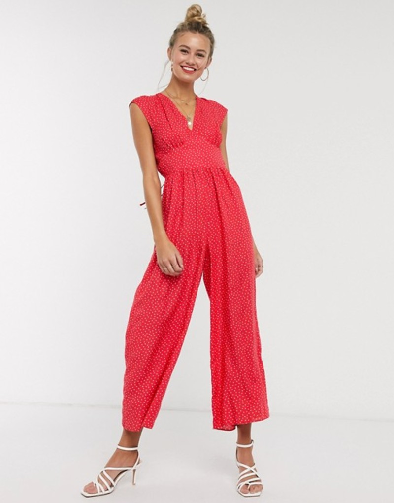 エイソス レディース ワンピース トップス ASOS DESIGN sleeveless tea jumpsuit in red polka dot Red/white spot