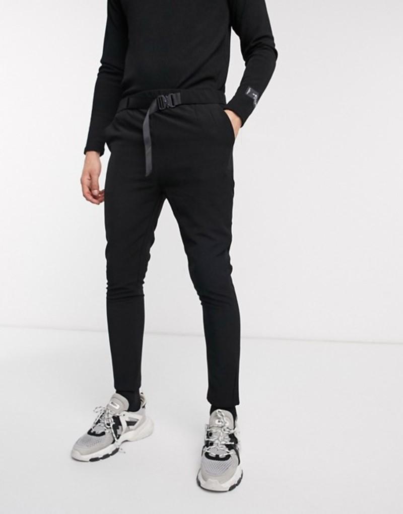 シックスジュン メンズ カジュアルパンツ ボトムス Sixth June pants with buckle in black Black