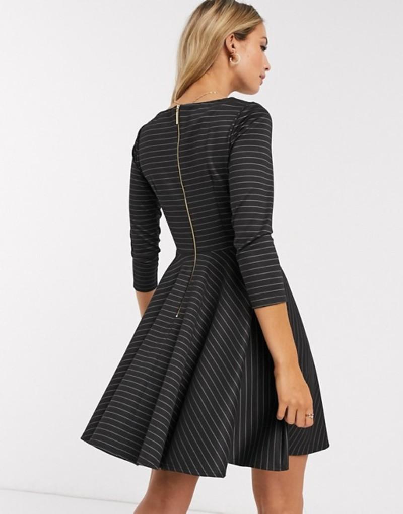 クローゼットロンドン レディース ワンピース トップス Closet mini skater dress with 3/4 sleeve in black stripe Black