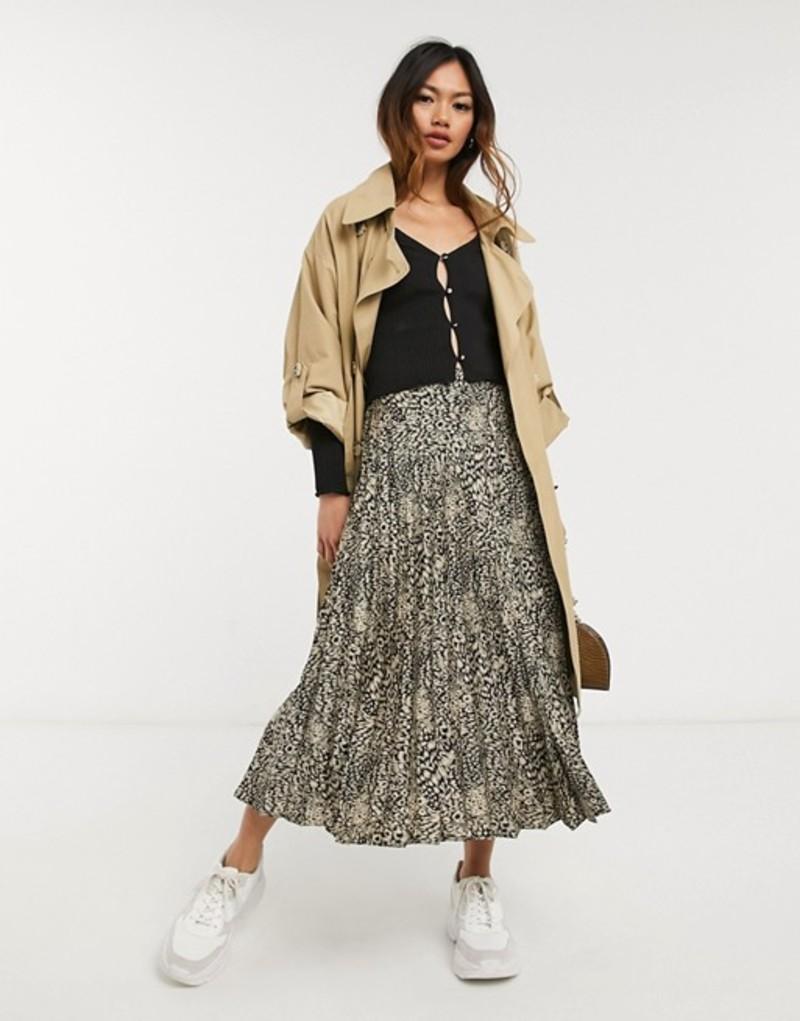 オアシス レディース スカート ボトムス Oasis pleated satin skirt in leopard print Print