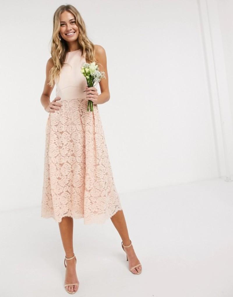 オアシス レディース ワンピース トップス Oasis bridesmaid lace skater dress in blush Blush