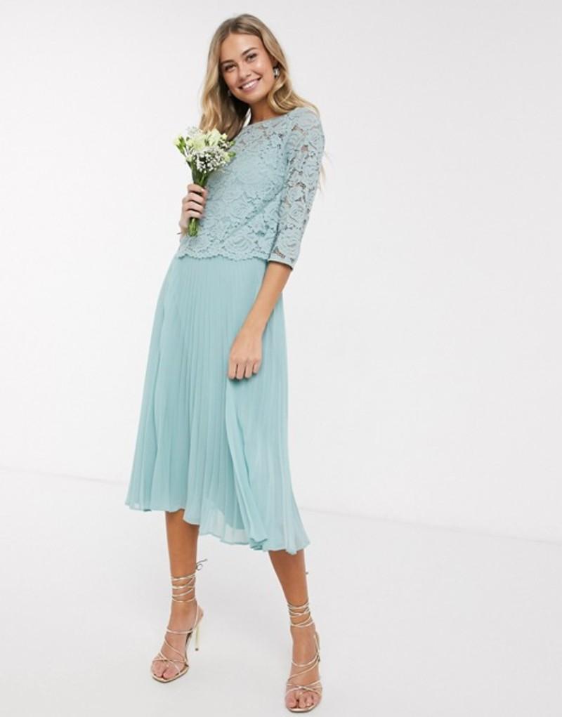 オアシス レディース ワンピース トップス Oasis bridesmaid lace cap sleeve pleated dress in mint Mint