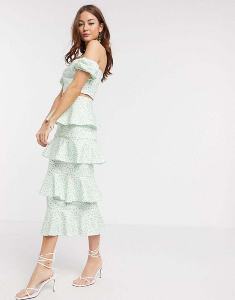 トゥルーバイオレット レディース スカート ボトムス True Violet tiered ruffle midi skirt two-piece in green fleck print Mint/green
