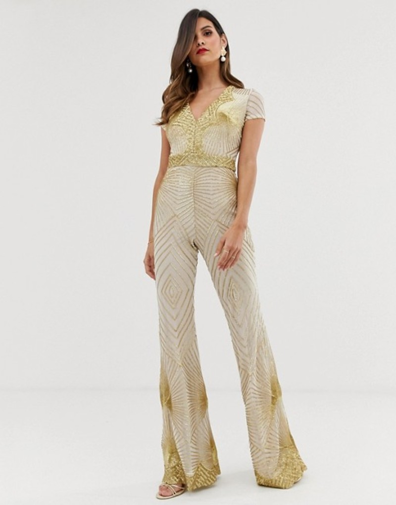 ゴッドディバ レディース ワンピース トップス Goddiva plunge front sequin jumpsuit with flared leg in white and gold White/gold