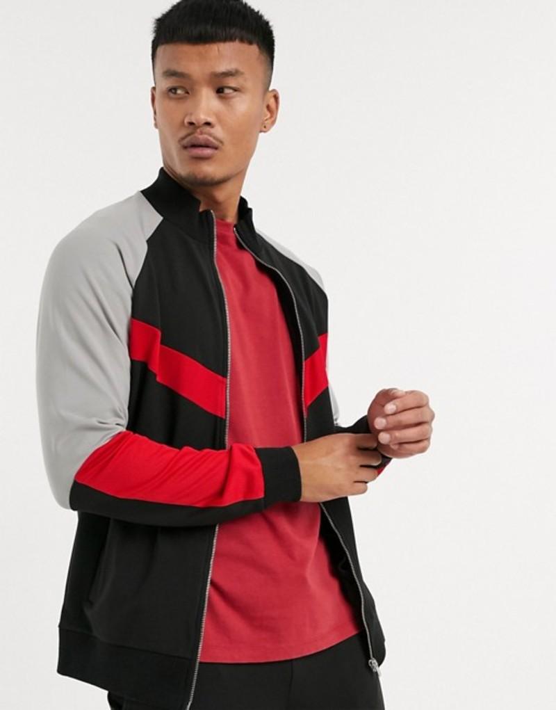 エイソス メンズ ジャケット・ブルゾン アウター ASOS DESIGN two-piece poly tricot track jacket with mesh details in color block Black