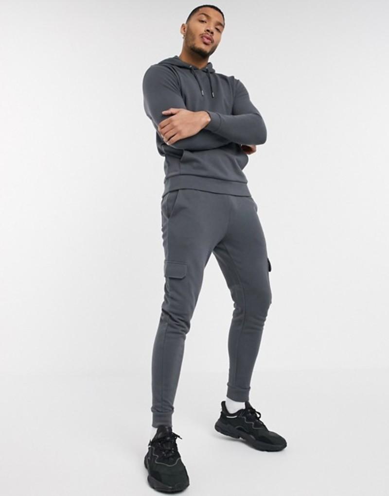 エイソス メンズ パーカー・スウェット アウター ASOS DESIGN tracksuit with hoodie & skinny cargo sweatpants in washed black Gray