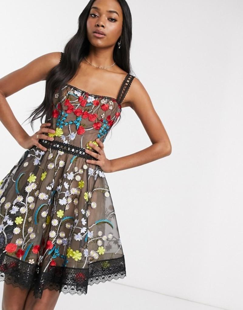 ブロンクス アンド バンコ レディース ワンピース トップス Bronx & Banco ivana embroidered skater mini dress in multi Multi