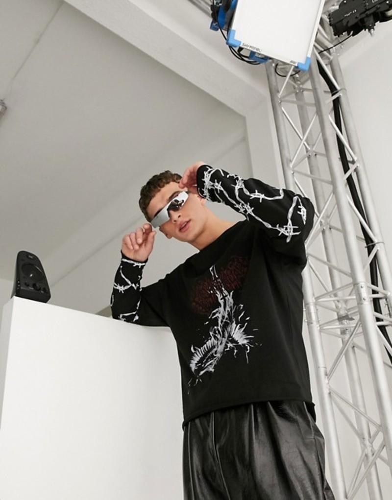 ジェーデッド メンズ シャツ トップス Jaded London gothic layered long sleeve t-shirt in black Black