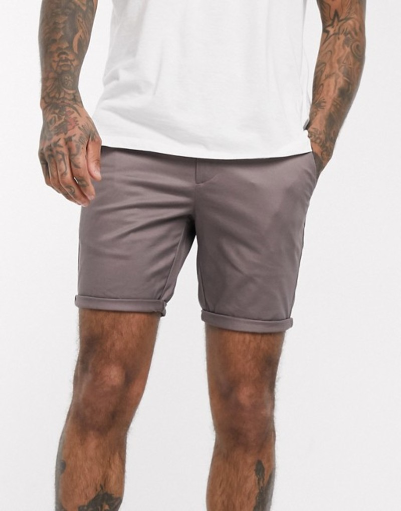 リバーアイランド メンズ ハーフパンツ・ショーツ ボトムス River Island skinny shorts in purple Purple