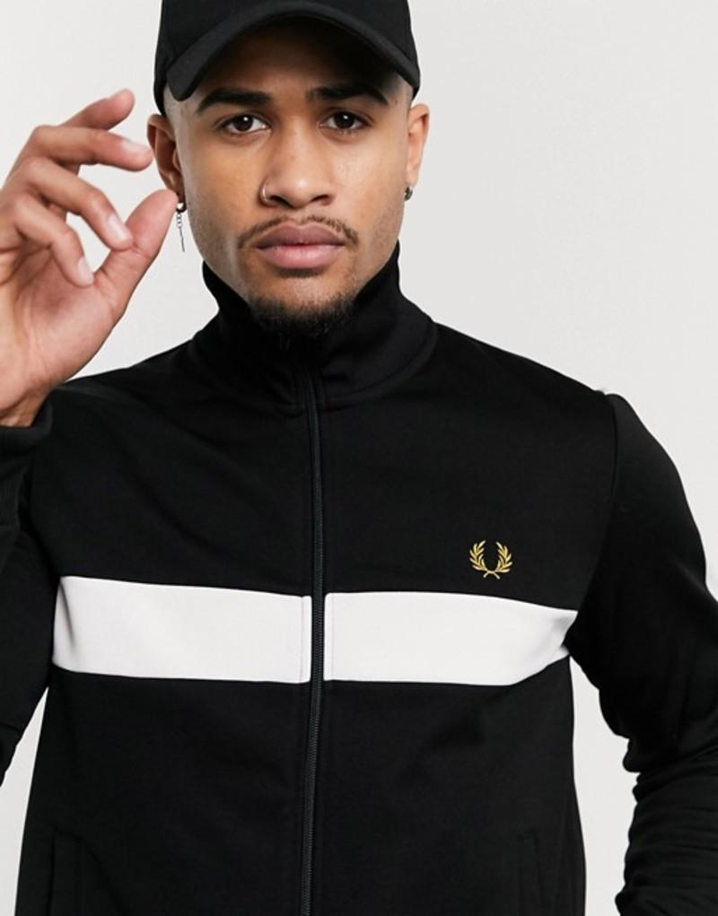 フレッドペリー メンズ ジャケット・ブルゾン アウター Fred Perry contrast panel track jacket black Black
