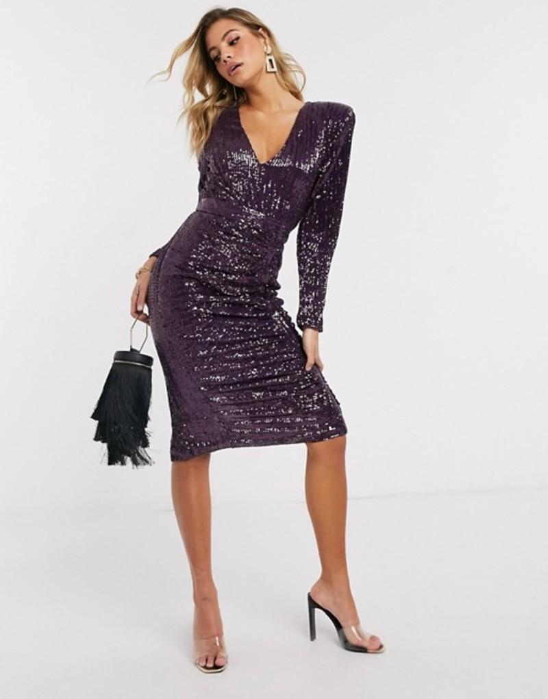 ラビッシュアリス レディース ワンピース トップス Lavish Alice pleated sequin midi dress in purple Purple