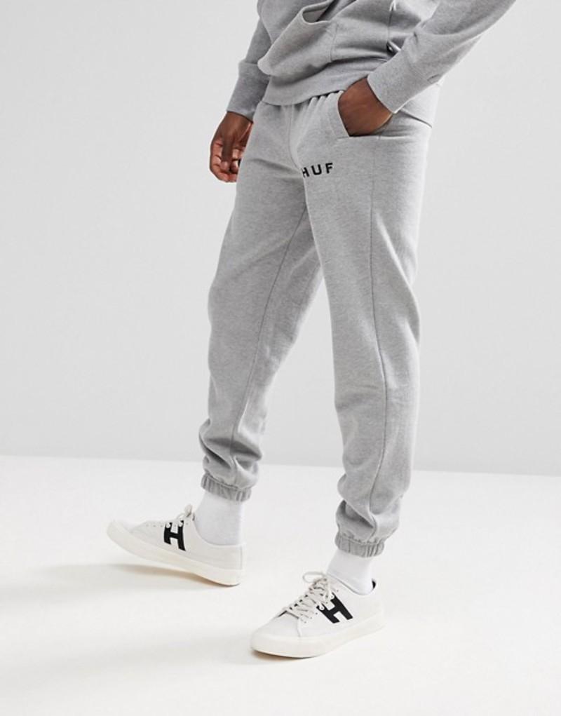 ハフ メンズ カジュアルパンツ ボトムス HUF Original Logo Joggers In Gray Grey