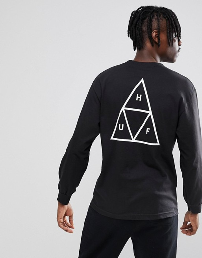 ハフ メンズ Tシャツ トップス HUF Triple Triangle Long Sleeve T-Shirt In Black Black
