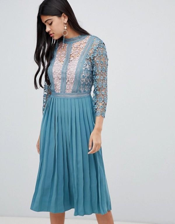 リトルミストレス レディース ワンピース トップス Little Mistress lace sleeve pleated midi dress in aqua Aqua