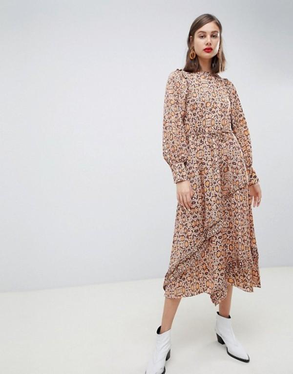マンゴ レディース ワンピース トップス Mango synch waist maxi dress in snake print Brown