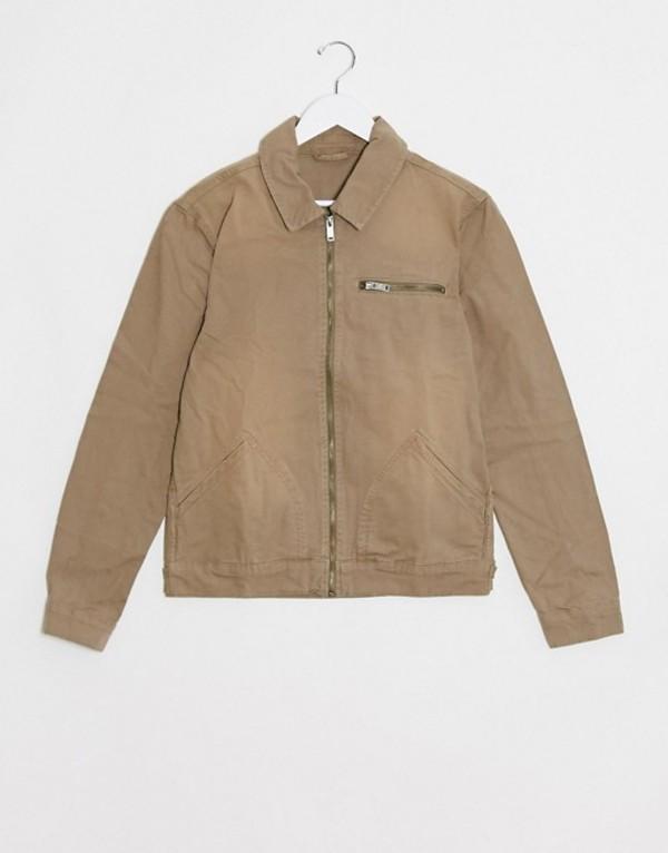 リバーアイランド メンズ ジャケット・ブルゾン アウター River Island zip through denim jacket in stone Navy