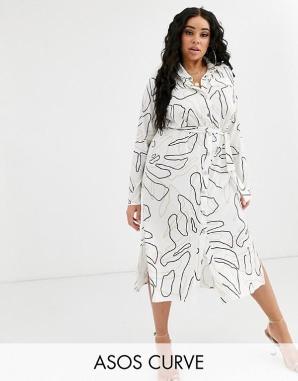 エイソス レディース ワンピース トップス ASOS DESIGN Curve midi belted shirt dress in print Mono print