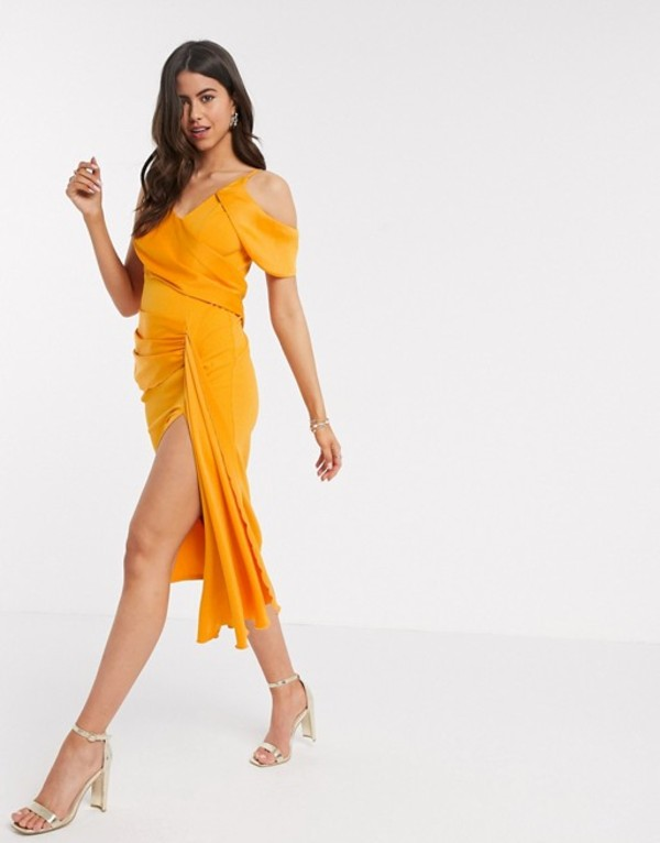 エイソス レディース ワンピース トップス ASOS DESIGN drape detail cami pencil midi dress in orange Orange