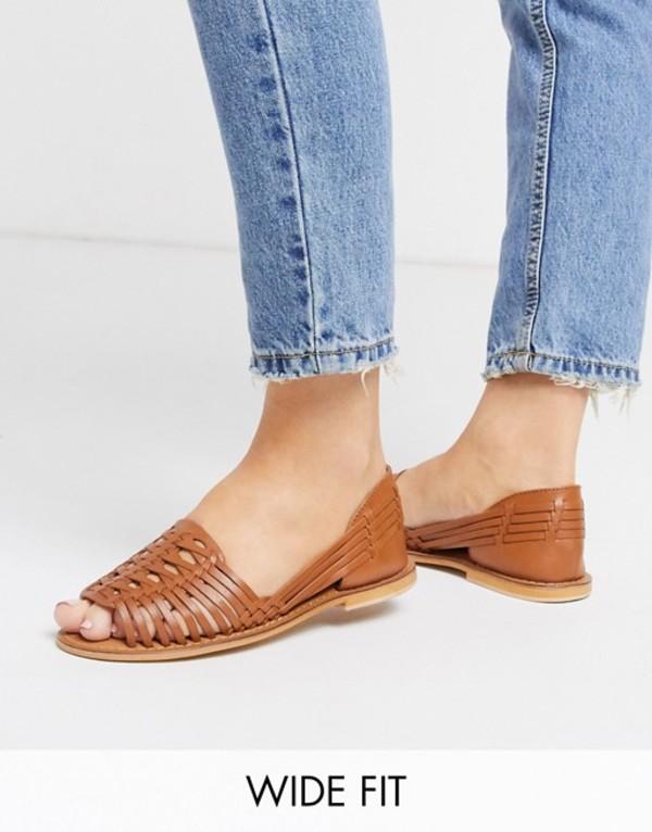 エイソス レディース サンダル シューズ ASOS DESIGN Wide Fit Florentine woven leather sandal in tan Tan
