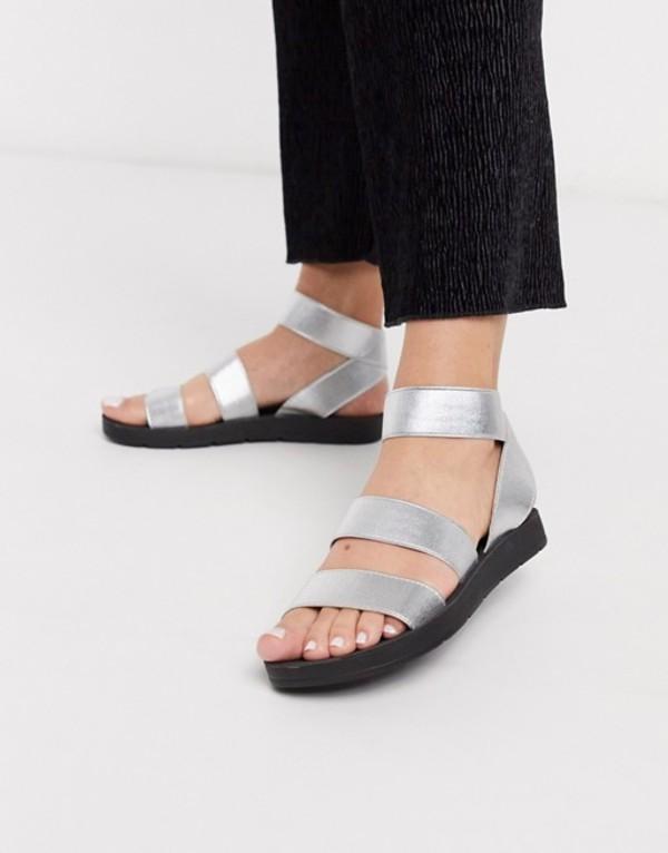 ロンドンレベル レディース サンダル シューズ London Rebel elastic strap flat sandals in silver Silver