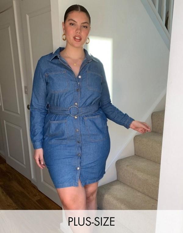 シンプリー ビー レディース ワンピース トップス Simply Be belted denim shirt dress Blue