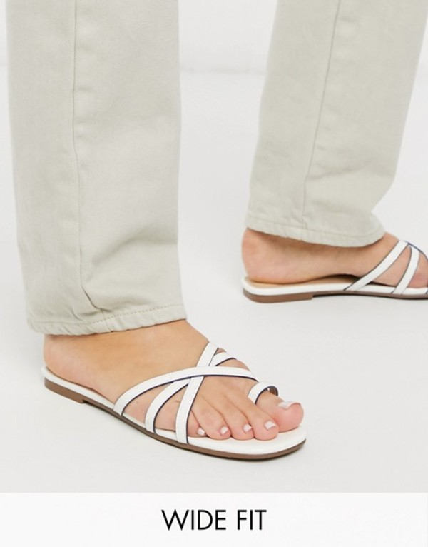 ロンドンレベル レディース サンダル シューズ London Rebel wide fit toe loop strappy mule sandals in white White