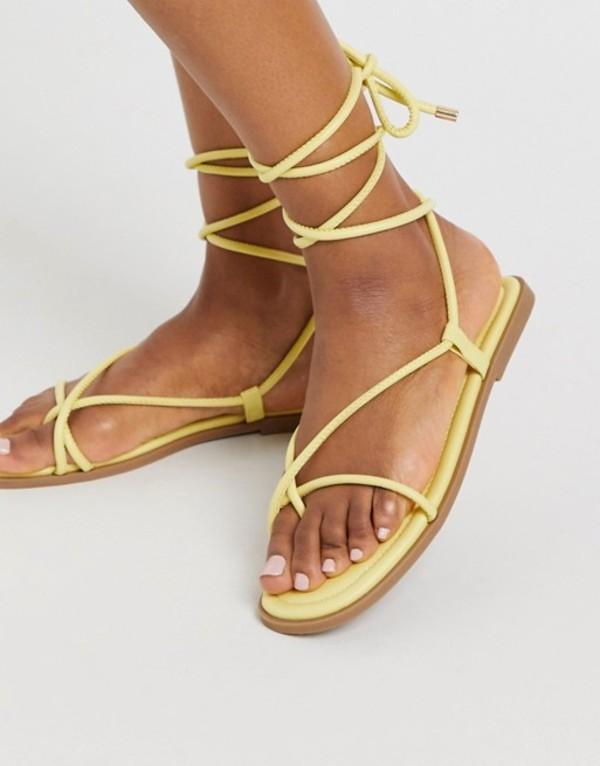 トリュフコレクション レディース サンダル シューズ Truffle Collection square toe tie leg flat sandals in yellow Yellow