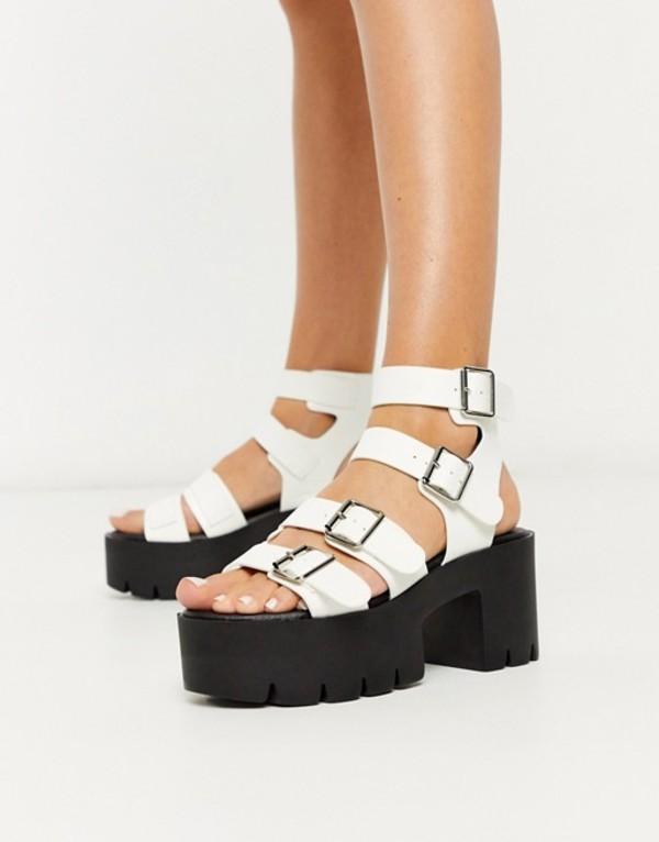 トリュフコレクション レディース サンダル シューズ Truffle Collection buckle platform heeled sandals in white White pu