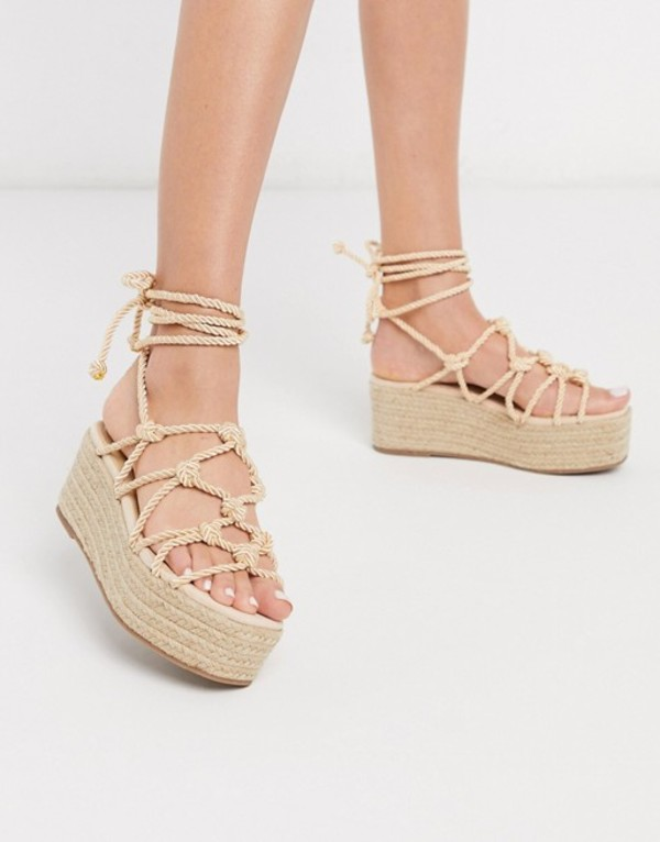 トリュフコレクション レディース サンダル シューズ Truffle Collection platform espadrille tie leg sandals in beige Beige