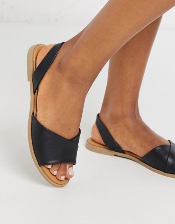 キューピッド レディース サンダル シューズ Qupid slingback flat sandals in black Black