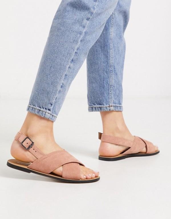 グラマラス レディース サンダル シューズ Glamorous cross strap flat sandal in blush pink Blush mf