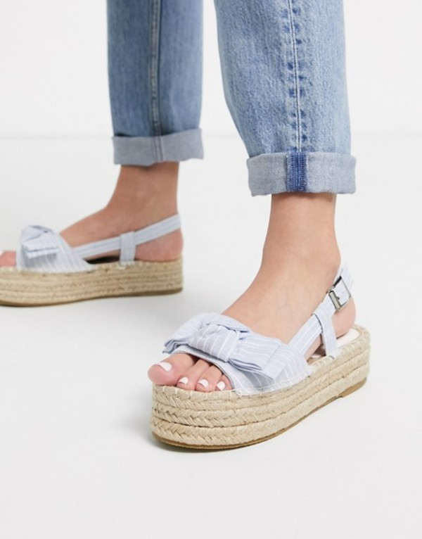 サウスビーチ レディース サンダル シューズ South Beach bow espadrille flatforms in stripe Blue stripe