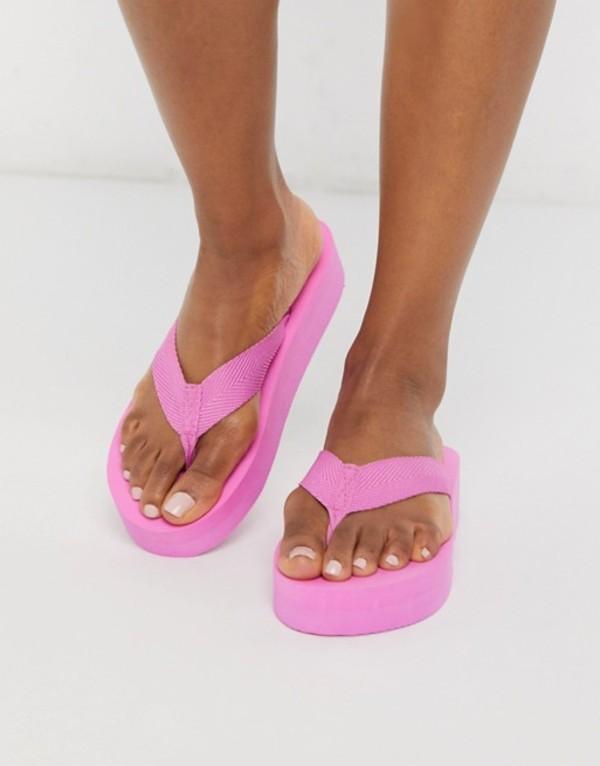 ロンドンレベル レディース サンダル シューズ London Rebel thong flip flops in pink Pink