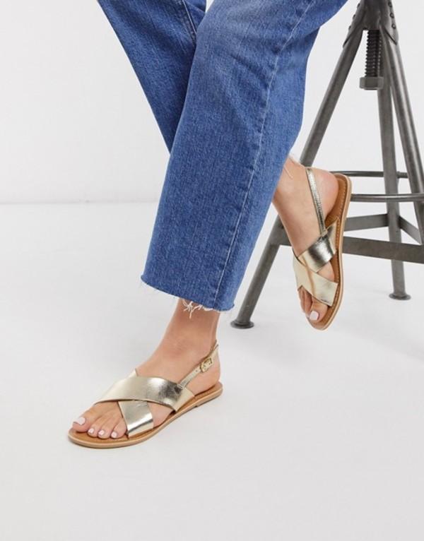 ルールロンドン レディース サンダル シューズ Rule London leather flat sandals in gold Gold metallic